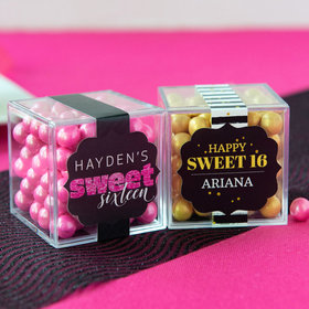 Personalized Sweet 16 Birthday JUST CANDY® favor cube with Sixlets Chocolate