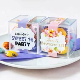 Personalized Sweet 16 Birthday JUST CANDY® favor cube with Premium Milk Chocolate Candy Sea Shells