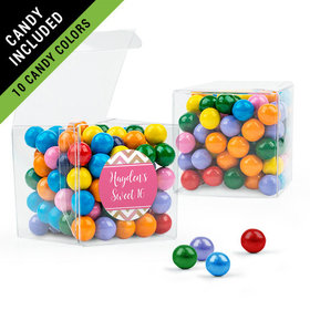 Personalized Sweet 16 Birthday Favor Assembled Clear Box Filled with Sixlets