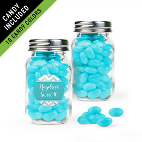 Personalized Sweet 16 Birthday Favor Assembled Mini Mason Jar Filled with Just Candy Jelly Beans