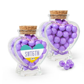 Personalized Sweet 16 Birthday Favor Assembled Heart Jar Filled with Sixlets