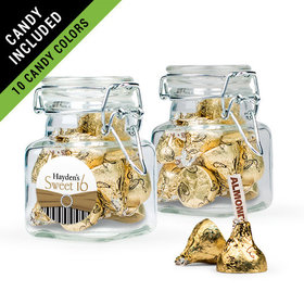 Personalized Sweet 16 Birthday Favor Assembled Swing Top Square Jar Filled with Hershey's Kisses
