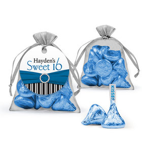 Personalized Sweet 16 Birthday Favor Assembled Organza Bag Filled with Hershey's Kisses