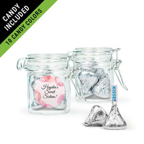 Personalized Sweet 16 Birthday Favor Assembled Swing Top Round Jar Filled with Hershey's Kisses