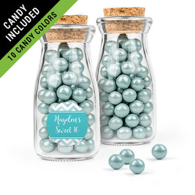 Personalized Sweet 16 Birthday Favor Assembled Glass Bottle with Cork Top Filled with Sixlets