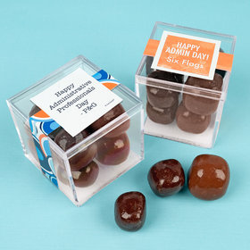 Personalized Administrative Professionals Day JUST CANDY® favor cube with Premium Milk & Dark Chocolate Sea Salt Caramels