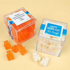 Personalized Administrative Professionals Day JUST CANDY® favor cube with Gummy Bears