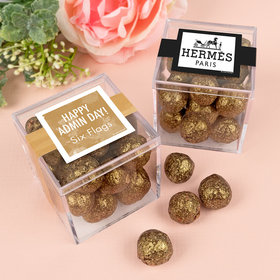 Personalized Administrative Professionals Day JUST CANDY® favor cube with Premium Sparkling Prosecco Cordials - Dark Chocolate