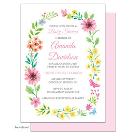 Bonnie Marcus Collection Personalized Butterfly Floral Wreath Invitation