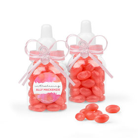 Personalized Girl Birth Announcement Favor Assembled Pink Baby Bottle Filled with Just Candy Jelly Beans