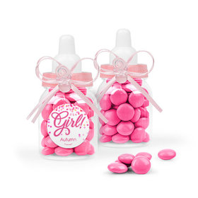Personalized Girl Birth Announcement Favor Assembled Pink Baby Bottle Filled with Just Candy Milk Chocolate Minis