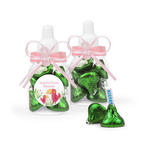 Personalized Girl Birth Announcement Favor Assembled Pink Baby Bottle Filled with Hershey's Kisses
