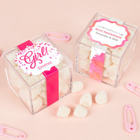 Personalized Girl Birth Announcement JUST CANDY® favor cube with Jelly Belly Gumdrops