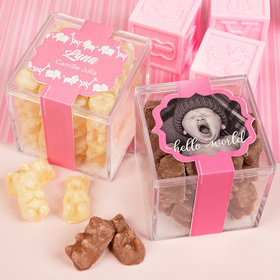 Personalized Girl Birth Announcement JUST CANDY® favor cube with Premium Chocolate Covered Gummy Bears
