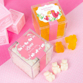 Personalized Girl Birth Announcement JUST CANDY® favor cube with Gummy Bears