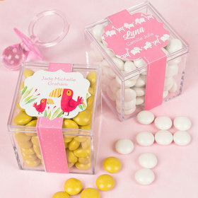 Personalized Girl Birth Announcement JUST CANDY® favor cube with Just Candy Milk Chocolate Minis