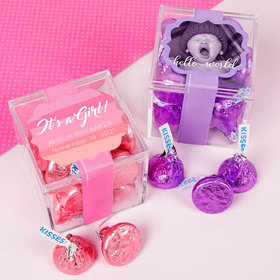Personalized Girl Birth Announcement JUST CANDY® favor cube with Hershey's Kisses
