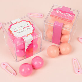 Personalized Girl Birth Announcement JUST CANDY® favor cube with Premium Malted Milk Balls