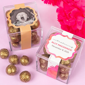 Personalized Girl Birth Announcement JUST CANDY® favor cube with Premium Sparkling Prosecco Cordials - Dark Chocolate