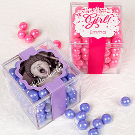 Personalized Girl Birth Announcement JUST CANDY® favor cube with Sixlets Chocolate