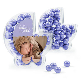 Personalized Girl Birth Announcement Favor Assembled Plastic Baby Stroller Box Filled with Sixlets