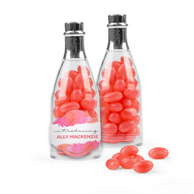 Personalized Girl Birth Announcement Favor Assembled Champagne Bottle Filled with Just Candy Jelly Beans