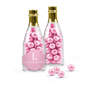 Personalized Girl Birth Announcement Favor Assembled Champagne Bottle Filled with Sixlets