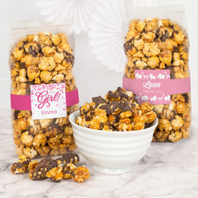 Personalized Baby Girl Birth Announcement Chocolate Caramel Sea Salt Gourmet Popcorn 8 oz Bags