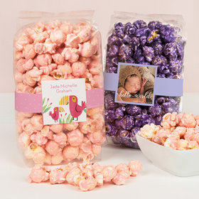 Personalized Baby Girl Birth Announcement Candy Coated Popcorn 8 oz Bags