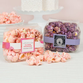 Personalized Baby Girl Birth Announcement Candy Coated Popcorn 3.5 oz Bags