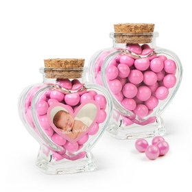 Personalized Girl Birth Announcement Favor Assembled Heart Jar Filled with Sixlets