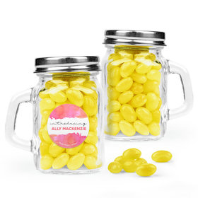 Personalized Girl Birth Announcement Favor Assembled Mini Mason Mug Filled with Just Candy Jelly Beans