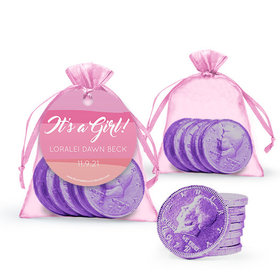 Personalized Girl Birth Announcement Favor Assembled Gift tag, Organza Bag Filled with Milk Chocolate Coins