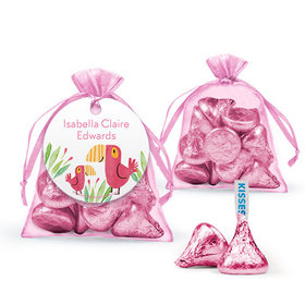 Personalized Girl Birth Announcement Favor Assembled Organza Bag Filled with Hershey's Kisses