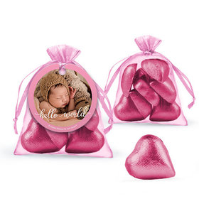 Personalized Girl Birth Announcement Favor Assembled Organza Bag Filled with Milk Chocolate Hearts