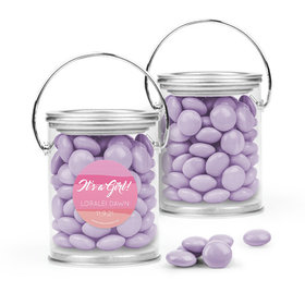 Personalized Girl Birth Announcement Favor Assembled Paint Can Filled with Just Candy Milk Chocolate Minis