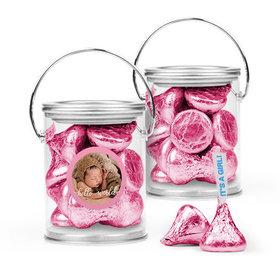 Personalized Girl Birth Announcement Favor Assembled Paint Can Filled with Hershey's Kisses