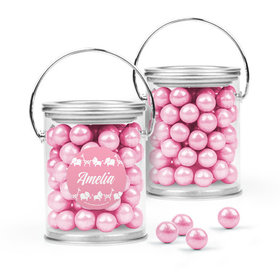 Personalized Girl Birth Announcement Favor Assembled Paint Can Filled with Sixlets