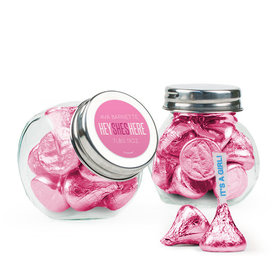 Personalized Girl Birth Announcement Favor Assembled Mini Side Jar Filled with Hershey's Kisses