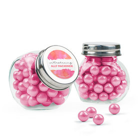 Personalized Girl Birth Announcement Favor Assembled Mini Side Jar Filled with Sixlets