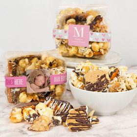 Personalized Baby Girl Birth Announcement Trendy Trash Gourmet Popcorn 3.5 oz Bags