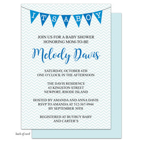 Bonnie Marcus Collection Personalized Chevron Banner Boy Invitation