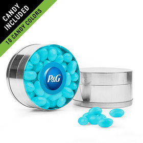 Personalized Business Add Your Logo Favor Assembled Small Round Plastic Tin Filled with Just Candy Jelly Beans