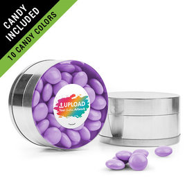Personalized Business Add Your Logo Favor Assembled Small Round Plastic Tin Filled with Just Candy Milk Chocolate Minis