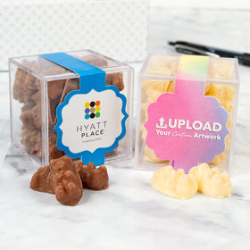 Personalized Business Add Your Logo JUST CANDY® favor cube with Premium Chocolate Covered Gummy Bears