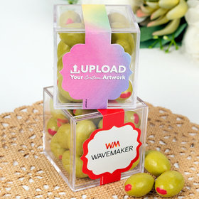 Personalized Business Add Your Logo JUST CANDY® favor cube with Premium Martini Olive Almonds - White Chocolate