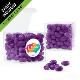 Personalized Business Add Your Logo Favor Assembled Clear Box Filled with Just Candy Jelly Beans