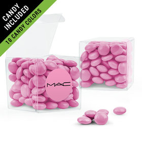 Personalized Business Add Your Logo Favor Assembled Clear Box Filled with Just Candy Milk Chocolate Minis