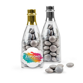 Personalized Business Add Your Logo Favor Assembled Champagne Bottle Filled with Just Candy Milk Chocolate Minis