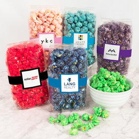 Personalized Business Add Your Logo Candy Coated Popcorn 8 oz Bags